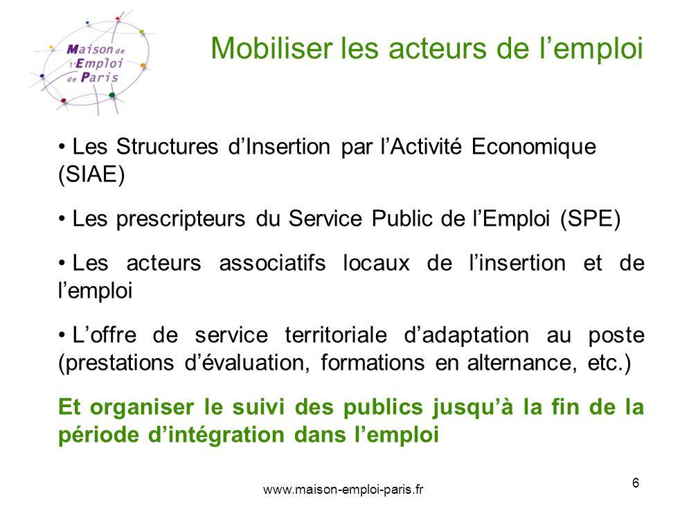 www.maison-emploi-paris.fr 6 Mobiliser les acteurs de lemploi Les Structures dInsertion par lActivité Economique (SIAE) Les prescripteurs du Service P