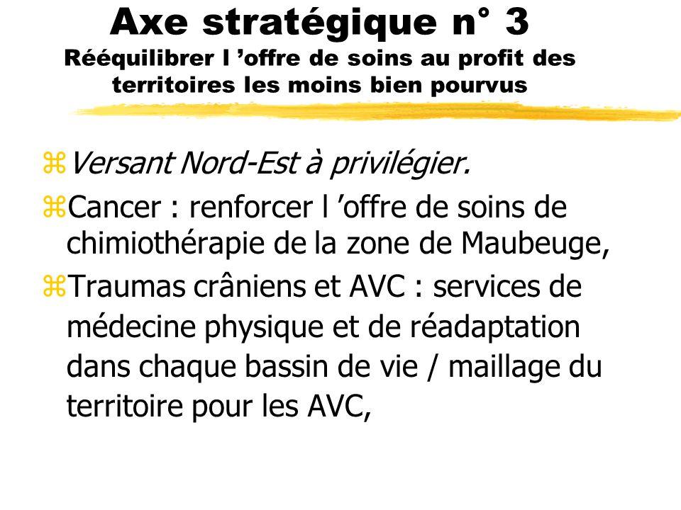 Axe stratégique n° 3 Rééquilibrer l offre de soins au profit des territoires les moins bien pourvus zVersant Nord-Est à privilégier.