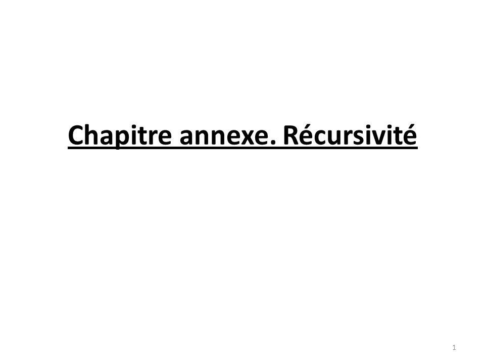 Version récursive : données : int n Entête en C : void etoiles_rec (int n); { SI (n 10) ALORS { écrire (*) etoiles_rec(n+1) } Appel dans lalgorithme appelant :.