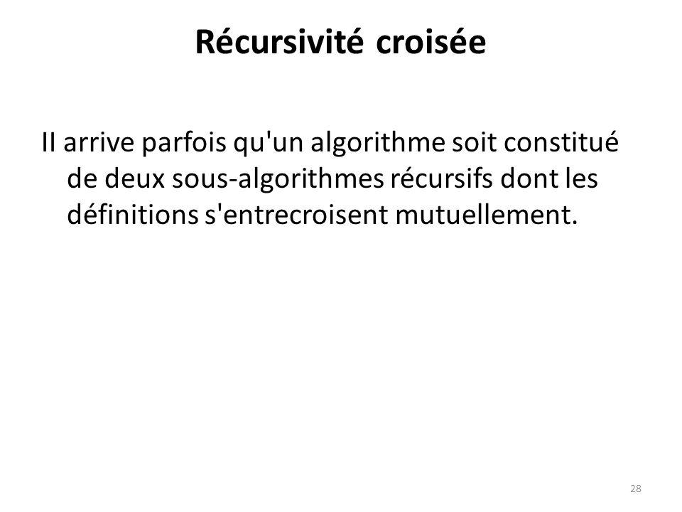 Récursivité croisée II arrive parfois qu'un algorithme soit constitué de deux sous-algorithmes récursifs dont les définitions s'entrecroisent mutuelle