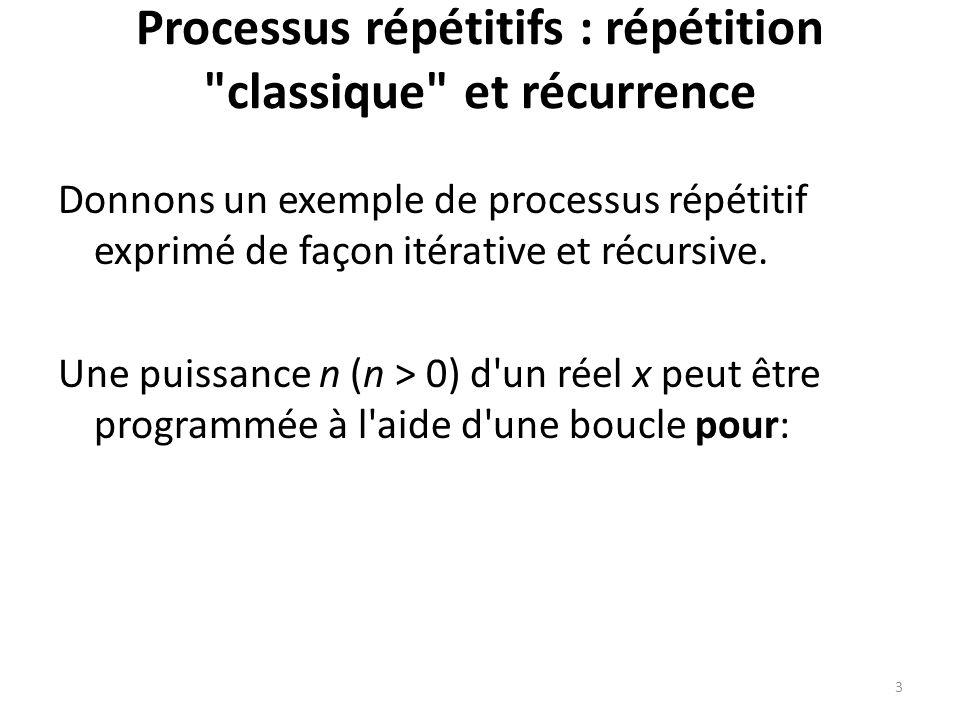 Processus répétitifs : répétition