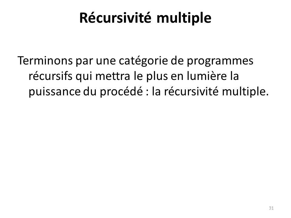 Récursivité multiple Terminons par une catégorie de programmes récursifs qui mettra le plus en lumière la puissance du procédé : la récursivité multip