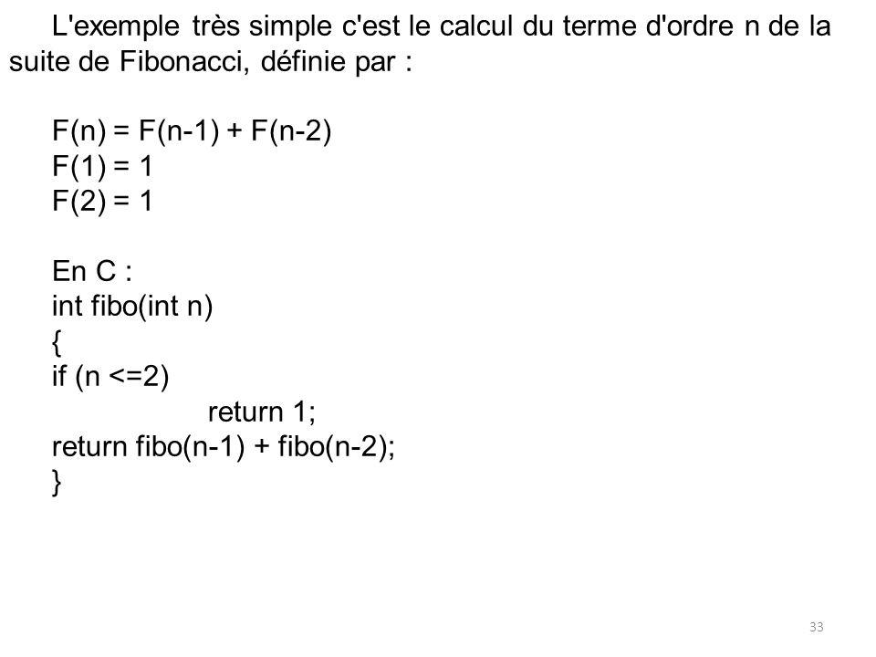 L'exemple très simple c'est le calcul du terme d'ordre n de la suite de Fibonacci, définie par : F(n) = F(n-1) + F(n-2) F(1) = 1 F(2) = 1 En C : int f