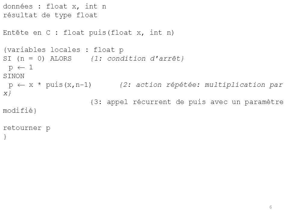 données : float x, int n résultat de type float Entête en C : float puis(float x, int n) {variables locales : float p SI (n = 0) ALORS{1: condition d'