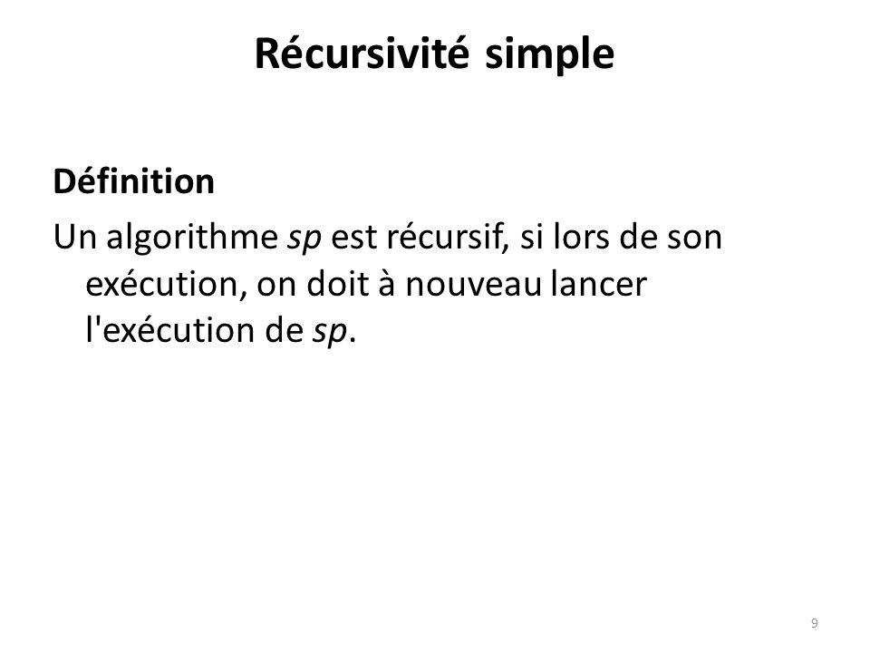 Récursivité simple Définition Un algorithme sp est récursif, si lors de son exécution, on doit à nouveau lancer l'exécution de sp. 9