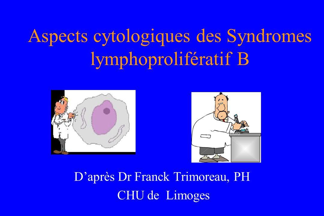 Aspects cytologiques des Syndromes lymphoprolifératif B Daprès Dr Franck Trimoreau, PH CHU de Limoges