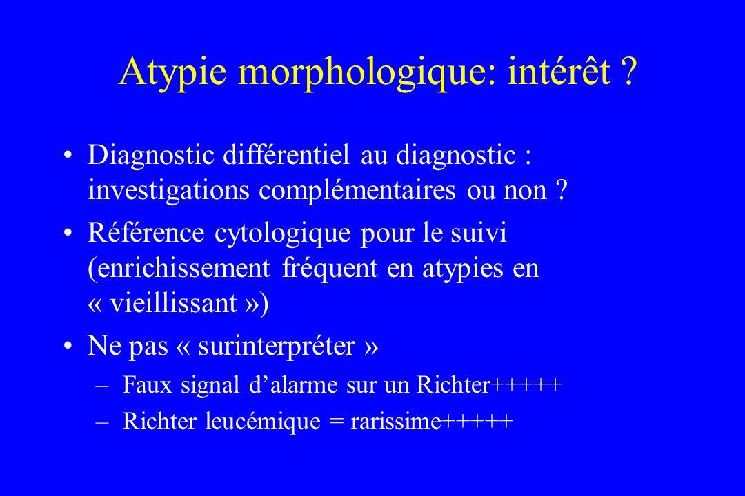 Atypie morphologique: intérêt ? Diagnostic différentiel au diagnostic : investigations complémentaires ou non ? Référence cytologique pour le suivi (e