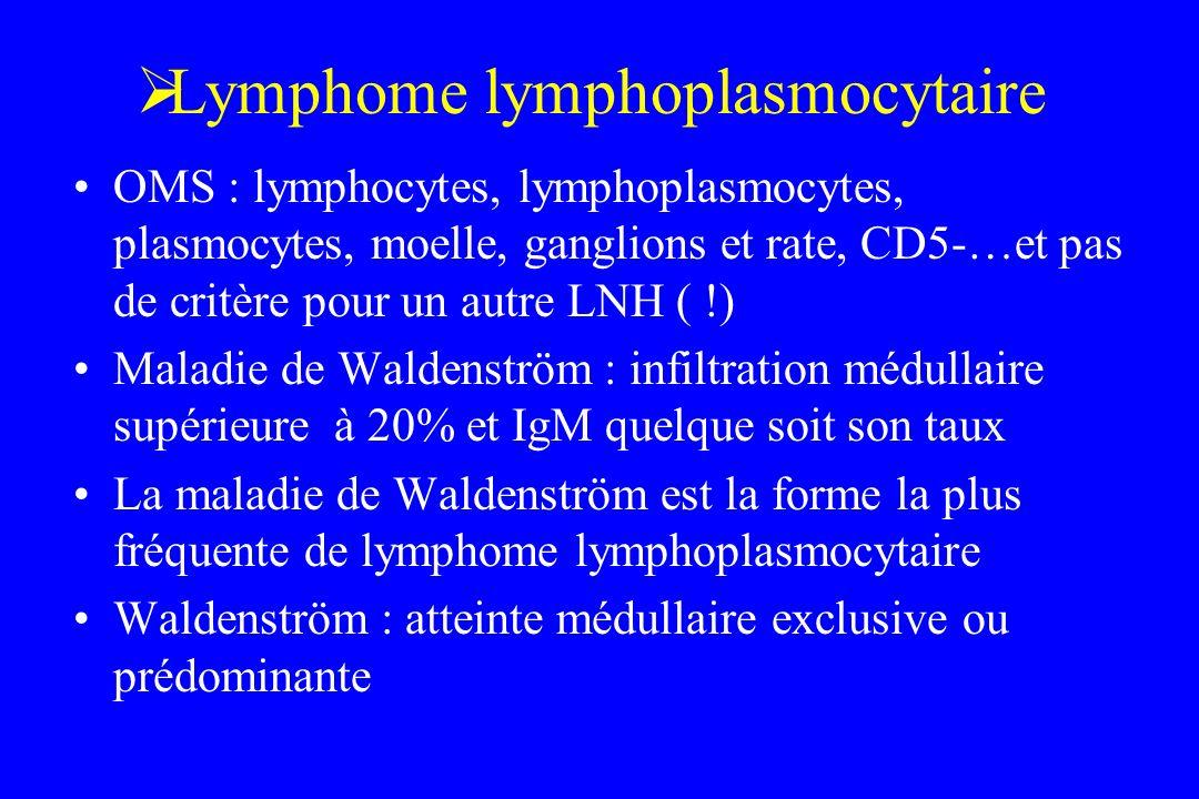 Lymphome lymphoplasmocytaire OMS : lymphocytes, lymphoplasmocytes, plasmocytes, moelle, ganglions et rate, CD5-…et pas de critère pour un autre LNH (
