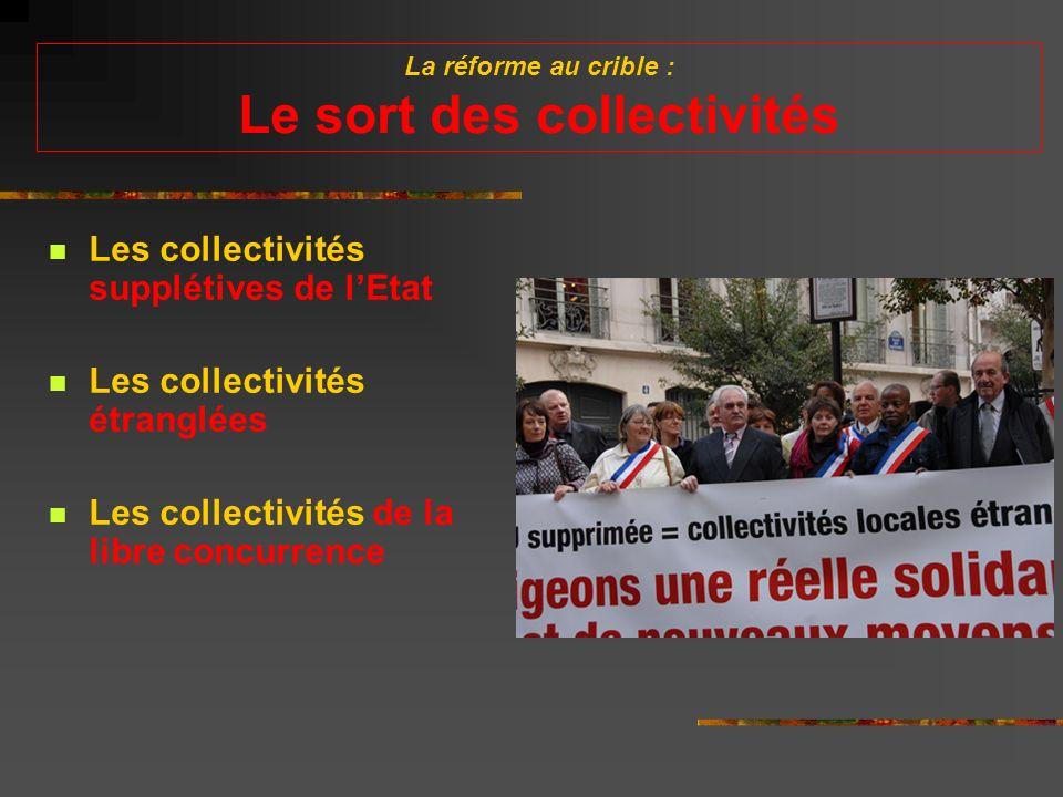 La réforme au crible : Le sort des collectivités Les collectivités supplétives de lEtat Les collectivités étranglées Les collectivités de la libre concurrence