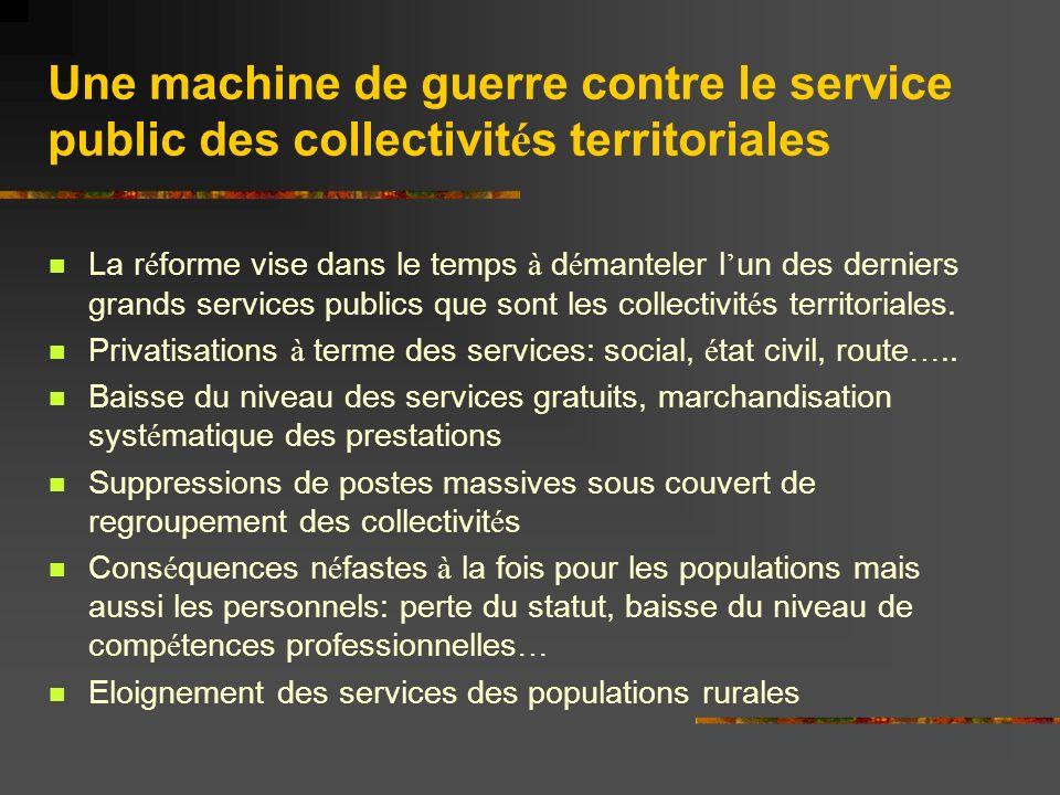 Une machine de guerre contre le service public des collectivit é s territoriales La r é forme vise dans le temps à d é manteler l un des derniers grands services publics que sont les collectivit é s territoriales.