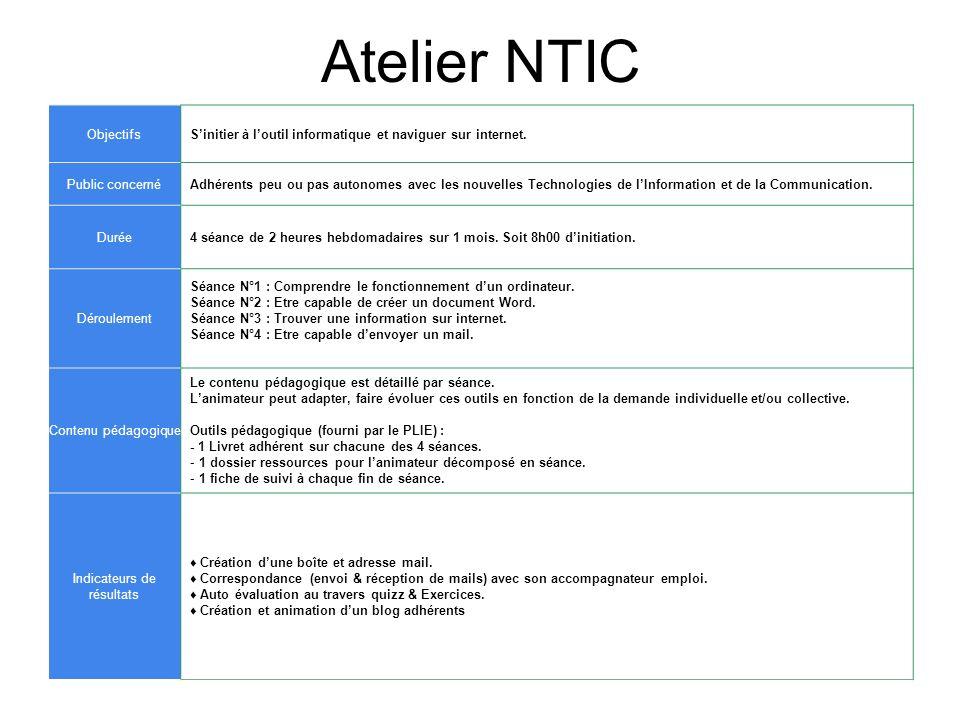 Atelier NTIC ObjectifsSinitier à loutil informatique et naviguer sur internet. Public concernéAdhérents peu ou pas autonomes avec les nouvelles Techno