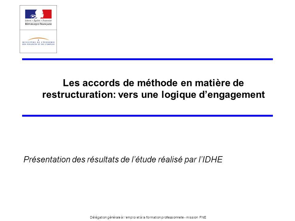 2 Délégation générale à lemploi et à la formation professionnelle - mission FNE Les accords de méthode en matière de restructuration: vers une logique dengagement Introduction 1.