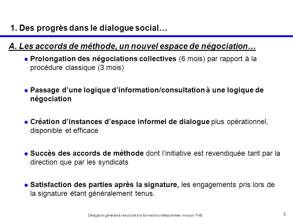 5 Délégation générale à lemploi et à la formation professionnelle - mission FNE A. Les accords de méthode, un nouvel espace de négociation… Prolongati