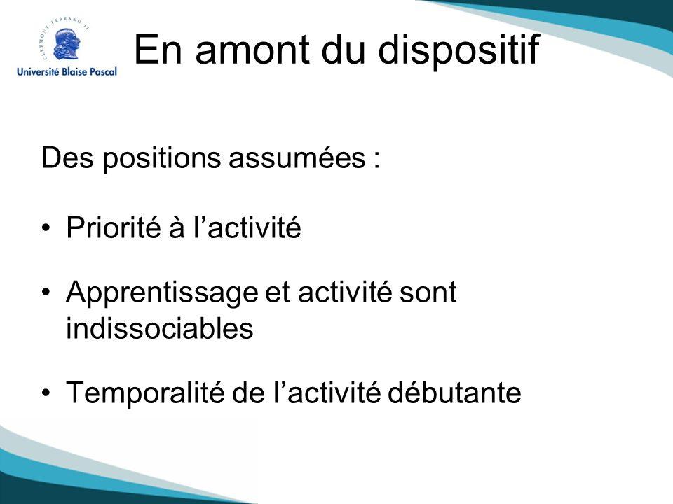 En amont du dispositif Des positions assumées : Priorité à lactivité Apprentissage et activité sont indissociables Temporalité de lactivité débutante