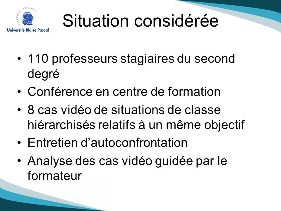 Situation considérée 110 professeurs stagiaires du second degré Conférence en centre de formation 8 cas vidéo de situations de classe hiérarchisés rel