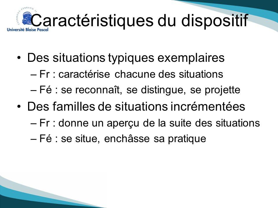 Caractéristiques du dispositif Des situations typiques exemplaires –Fr : caractérise chacune des situations –Fé : se reconnaît, se distingue, se proje