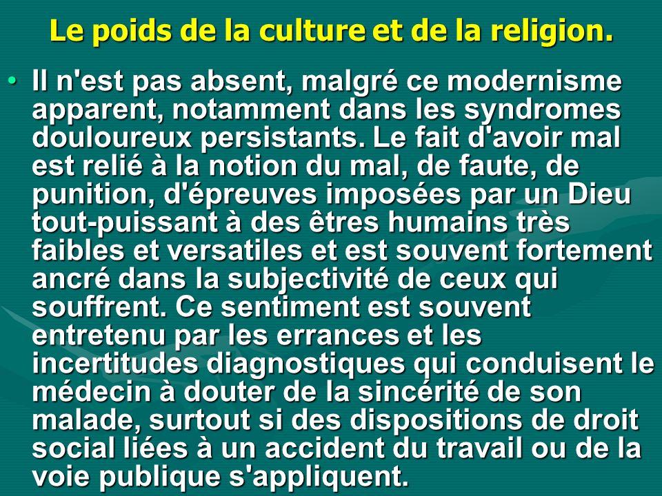 Le poids de la culture et de la religion. Il n'est pas absent, malgré ce modernisme apparent, notamment dans les syndromes douloureux persistants. Le