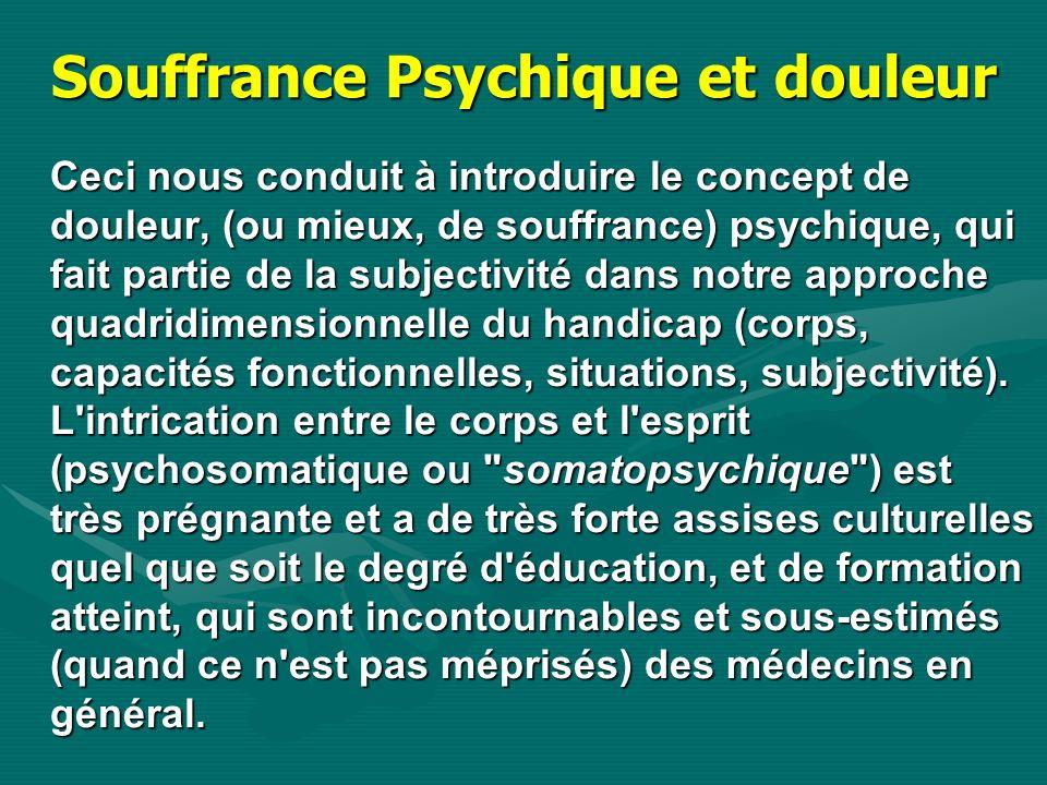 Souffrance Psychique et douleur Ceci nous conduit à introduire le concept de douleur, (ou mieux, de souffrance) psychique, qui fait partie de la subje