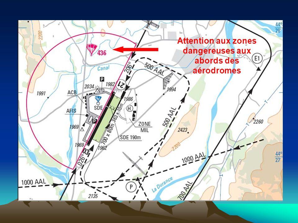 Lors de lintégration sur un aérodrome non contrôlé, effectuer la reconnaissance à une hauteur supérieure à celle du tour de piste publié le plus haut (Recommandation: 500ft plus haut) Tours de piste basse hauteur possibles, mais parfois limités en nombre, hauteur, aux aéronefs basés, avec instructeur etc… Attention aux zones dangereuses aux abords des aérodromes
