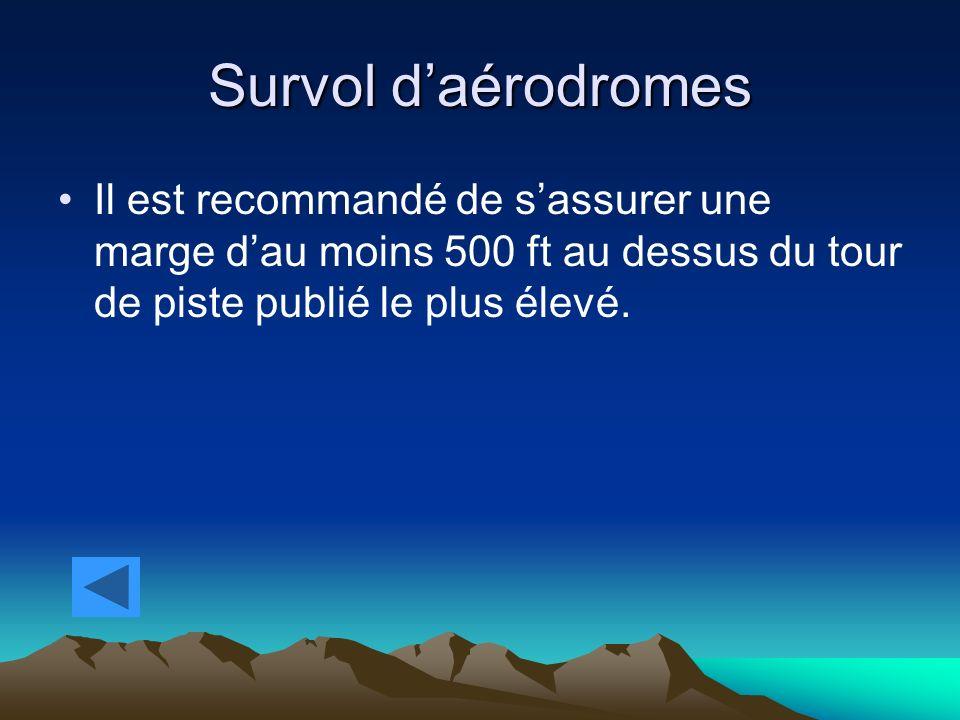 Survol daérodromes Il est recommandé de sassurer une marge dau moins 500 ft au dessus du tour de piste publié le plus élevé.