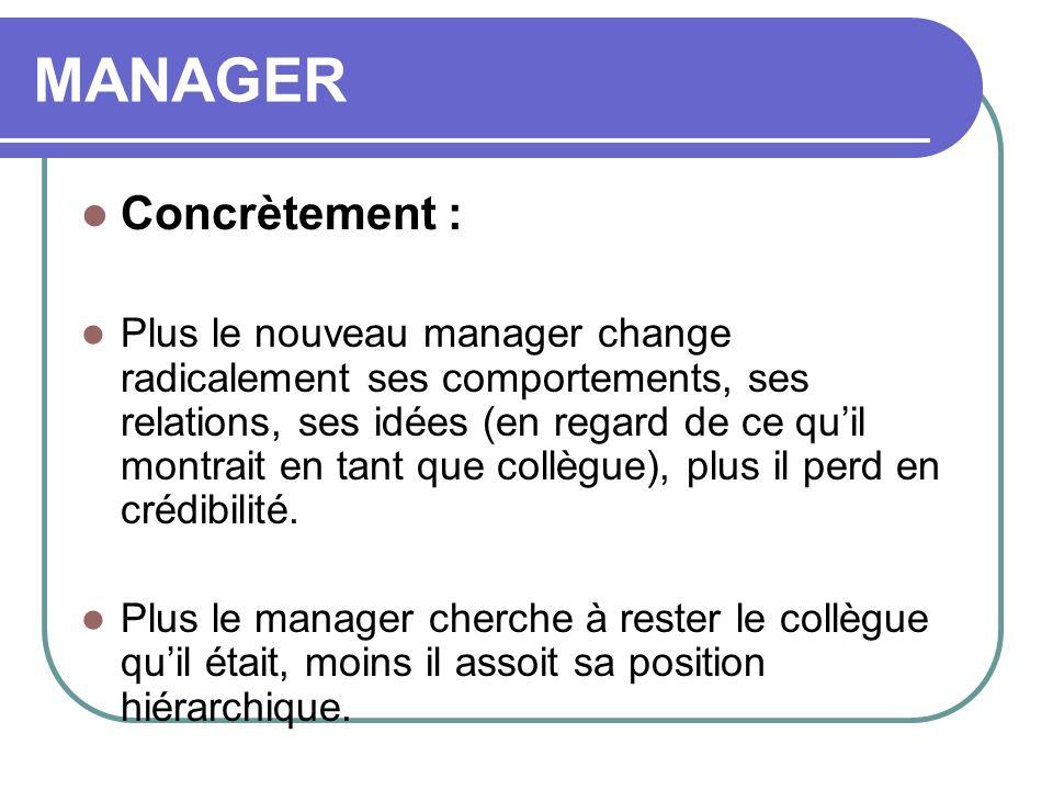 MANAGER Concrètement : Plus le nouveau manager change radicalement ses comportements, ses relations, ses idées (en regard de ce quil montrait en tant