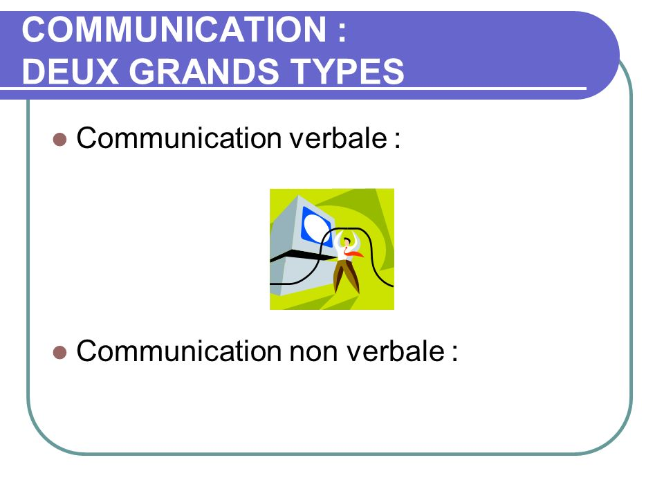 COMMUNICATION : DEUX GRANDS TYPES Communication verbale : Communication non verbale :