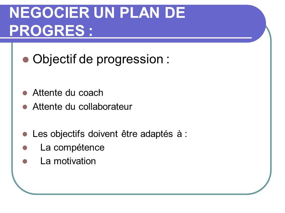 NEGOCIER UN PLAN DE PROGRES : Objectif de progression : Attente du coach Attente du collaborateur Les objectifs doivent être adaptés à : La compétence