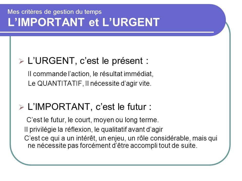 Mes critères de gestion du temps LIMPORTANT et LURGENT LURGENT, cest le présent : Il commande laction, le résultat immédiat, Le QUANTITATIF, Il nécess