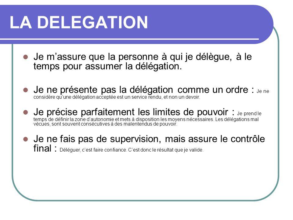 LA DELEGATION Je massure que la personne à qui je délègue, à le temps pour assumer la délégation. Je ne présente pas la délégation comme un ordre : Je
