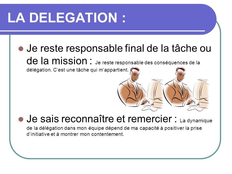 LA DELEGATION : Je reste responsable final de la tâche ou de la mission : Je reste responsable des conséquences de la délégation. Cest une tâche qui m