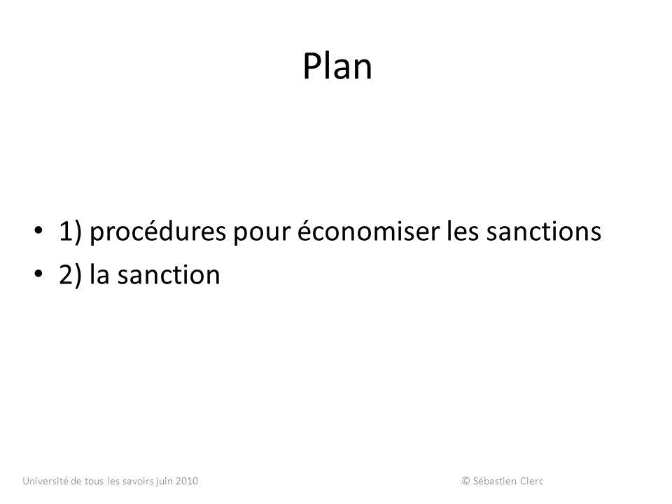 Plan 1) procédures pour économiser les sanctions 2) la sanction Université de tous les savoirs juin 2010 © Sébastien Clerc