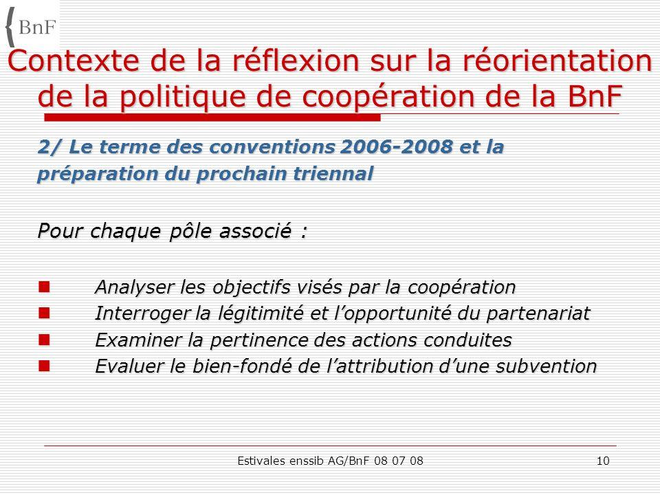 Estivales enssib AG/BnF 08 07 0810 Contexte de la réflexion sur la réorientation de la politique de coopération de la BnF 2/ Le terme des conventions