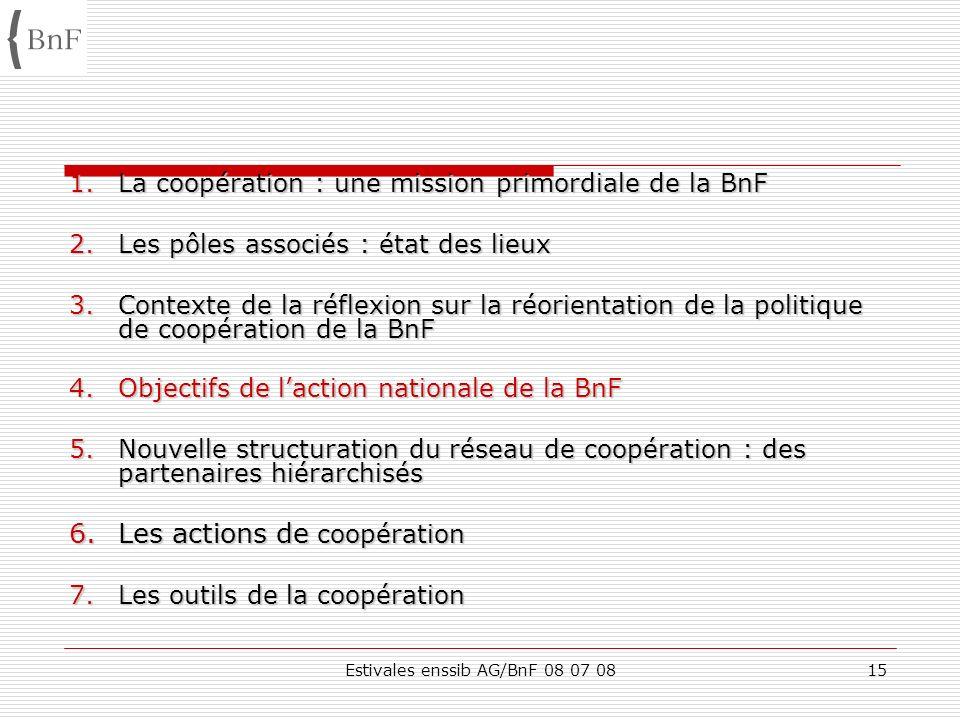 Estivales enssib AG/BnF 08 07 0815 1.La coopération : une mission primordiale de la BnF 2.Les pôles associés : état des lieux 3.Contexte de la réflexi