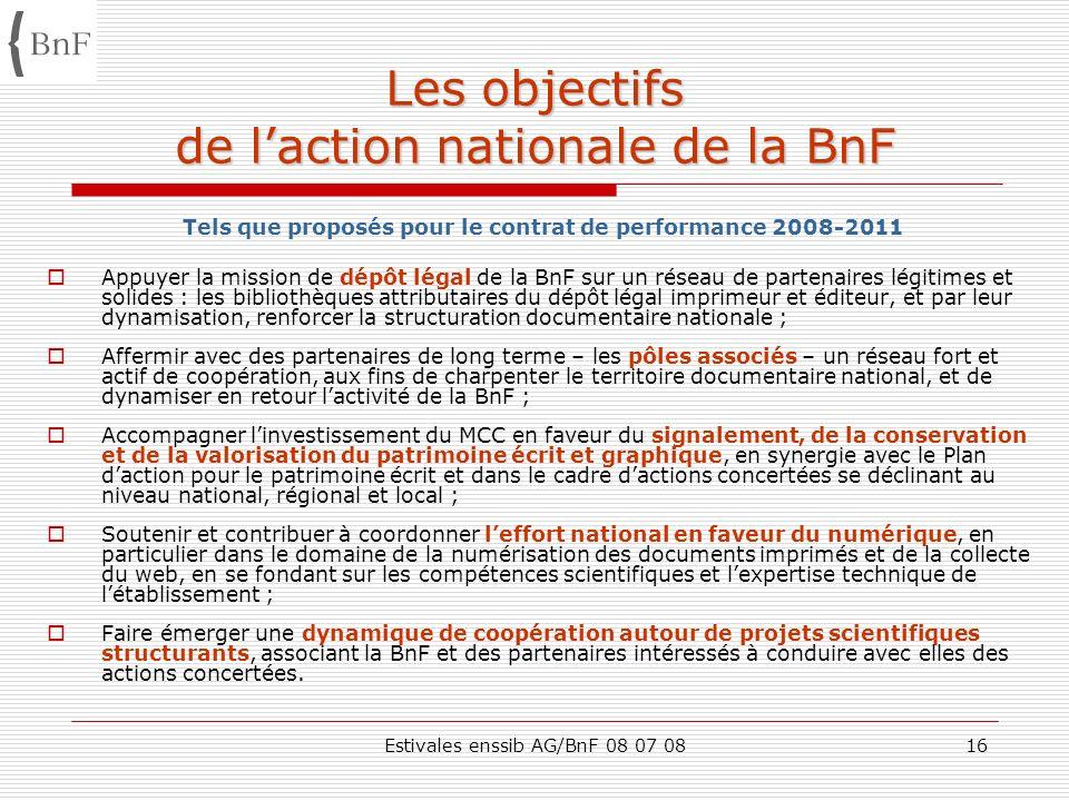 Estivales enssib AG/BnF 08 07 0816 Les objectifs de laction nationale de la BnF Tels que proposés pour le contrat de performance 2008-2011 Appuyer la