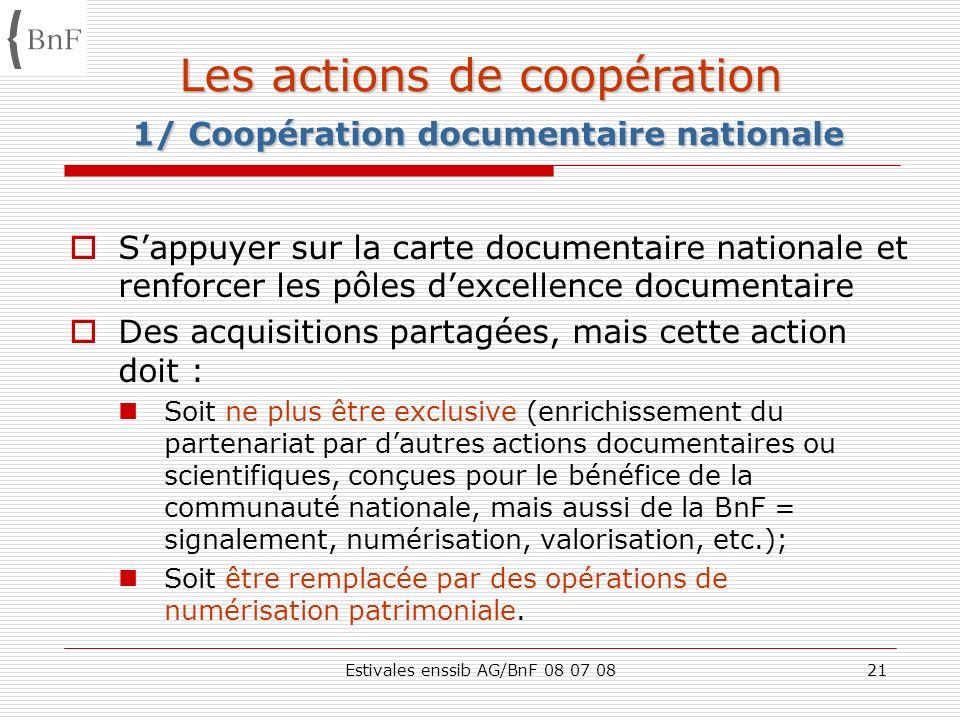 Estivales enssib AG/BnF 08 07 0821 Les actions de coopération 1/ Coopération documentaire nationale Sappuyer sur la carte documentaire nationale et re
