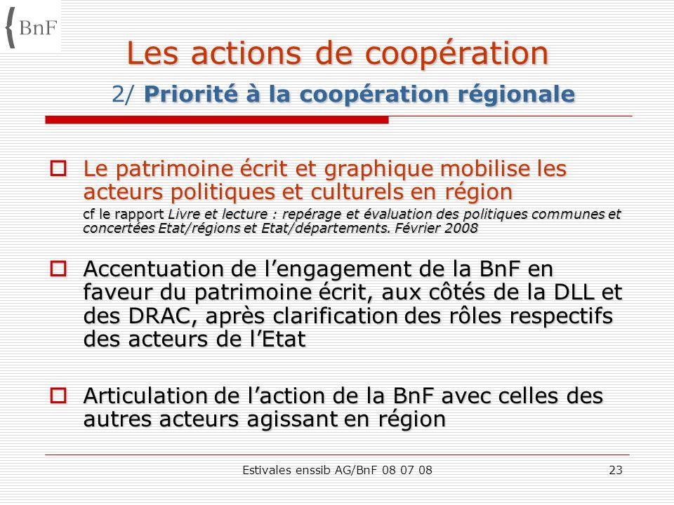 Estivales enssib AG/BnF 08 07 0823 Les actions de coopération Priorité à la coopération régionale Les actions de coopération 2/ Priorité à la coopérat