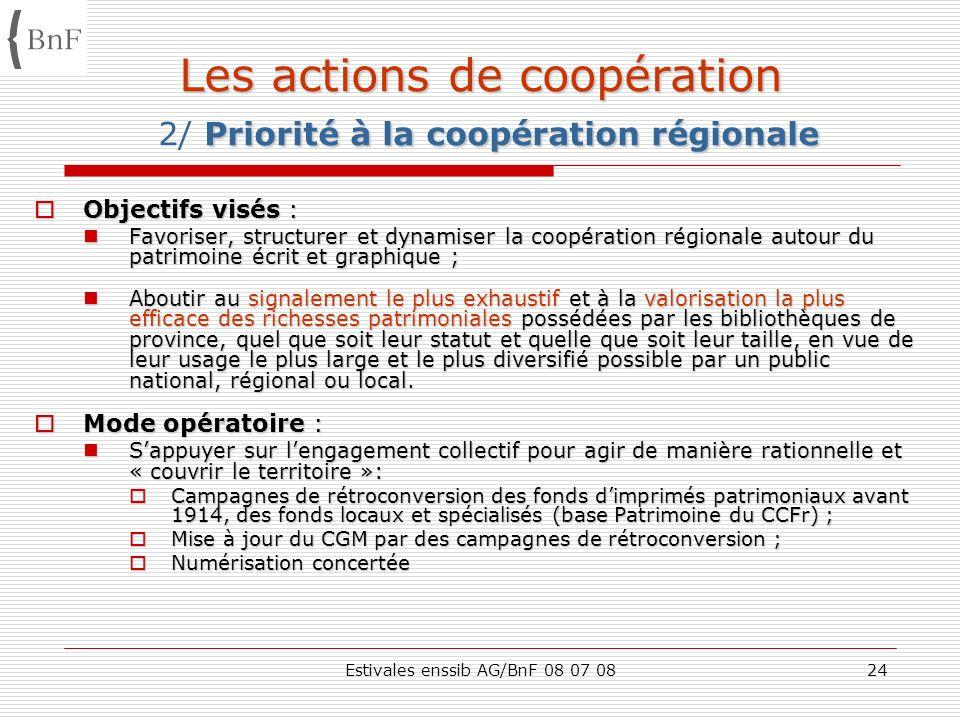 Estivales enssib AG/BnF 08 07 0824 Les actions de coopération Priorité à la coopération régionale Les actions de coopération 2/ Priorité à la coopérat
