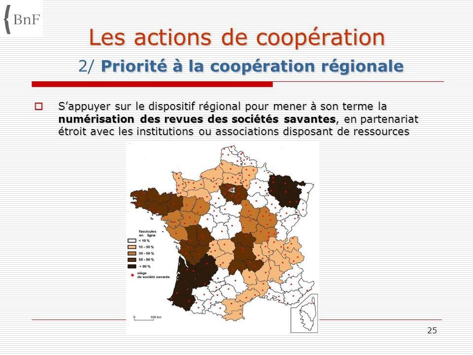 Estivales enssib AG/BnF 08 07 0825 Les actions de coopération Priorité à la coopération régionale Les actions de coopération 2/ Priorité à la coopérat