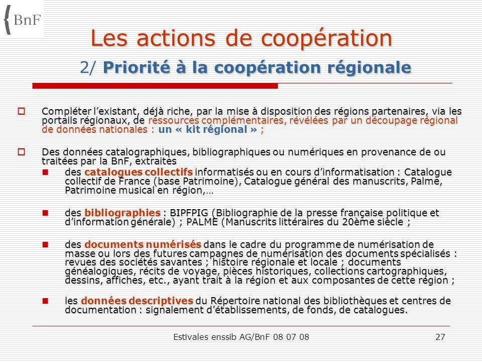 Estivales enssib AG/BnF 08 07 0827 Les actions de coopération Priorité à la coopération régionale Les actions de coopération 2/ Priorité à la coopérat