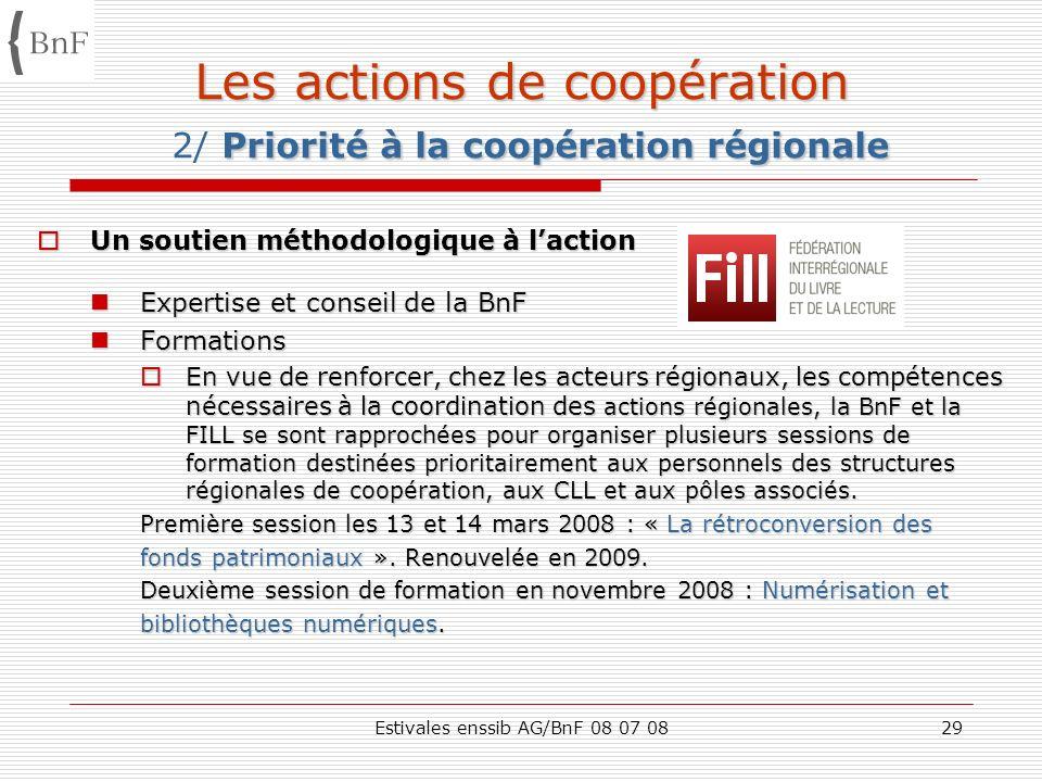 Estivales enssib AG/BnF 08 07 0829 Les actions de coopération Priorité à la coopération régionale Les actions de coopération 2/ Priorité à la coopérat