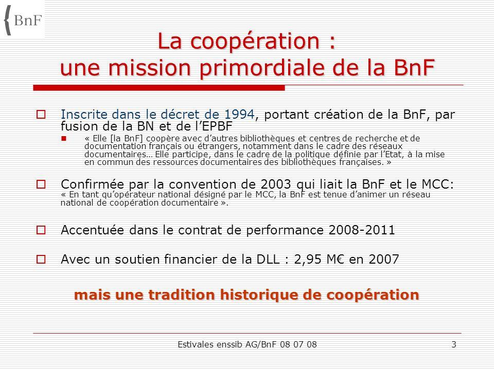 Estivales enssib AG/BnF 08 07 084 1.La coopération : une mission primordiale de la BnF 2.Les pôles associés : état des lieux 1.Typologie des partenaires 2.Typologie des actions 3.Contexte de la réflexion sur la réorientation de la politique de coopération de la BnF 4.Objectifs de laction nationale de la BnF 5.Nouvelle structuration du réseau de coopération : des partenaires hiérarchisés 6.Les actions de coopération 7.Les outils de la coopération
