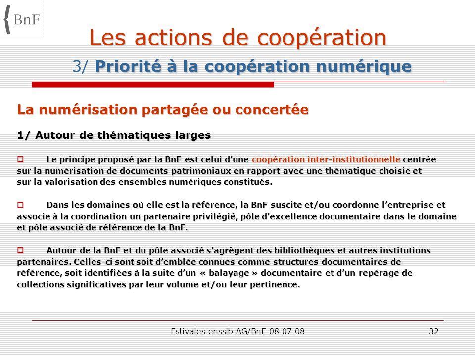 Estivales enssib AG/BnF 08 07 0832 Les actions de coopération Priorité à la coopération numérique Les actions de coopération 3/ Priorité à la coopérat
