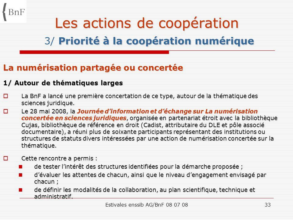 Estivales enssib AG/BnF 08 07 0833 Les actions de coopération Priorité à la coopération numérique Les actions de coopération 3/ Priorité à la coopérat