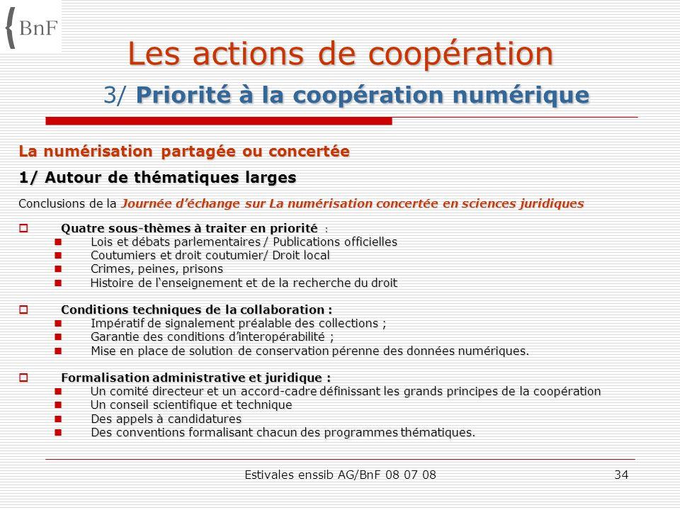 Estivales enssib AG/BnF 08 07 0834 Les actions de coopération Priorité à la coopération numérique Les actions de coopération 3/ Priorité à la coopérat