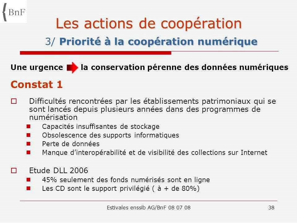 Estivales enssib AG/BnF 08 07 0838 Les actions de coopération Priorité à la coopération numérique Les actions de coopération 3/ Priorité à la coopérat