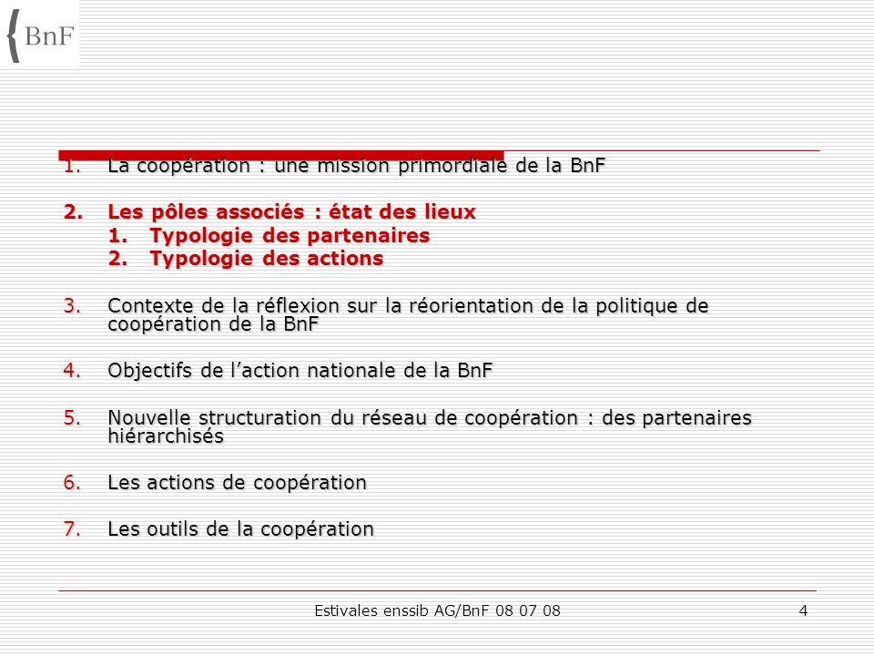 Estivales enssib AG/BnF 08 07 0845 1.La coopération : une mission primordiale de la BnF 2.Les pôles associés : état des lieux 3.Contexte de la réflexion sur la réorientation de la politique de coopération de la BnF 4.Objectifs de laction nationale de la BnF 5.Nouvelle structuration du réseau de coopération : des partenaires hiérarchisés 6.Les actions de coopération 7.Les outils de la coopération