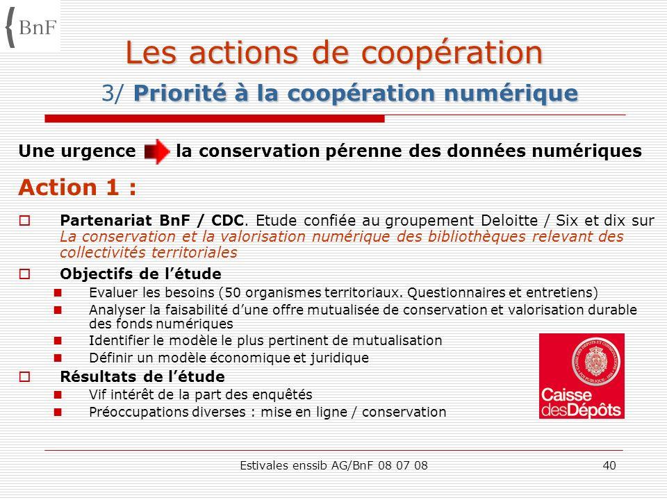 Estivales enssib AG/BnF 08 07 0840 Les actions de coopération Priorité à la coopération numérique Les actions de coopération 3/ Priorité à la coopérat