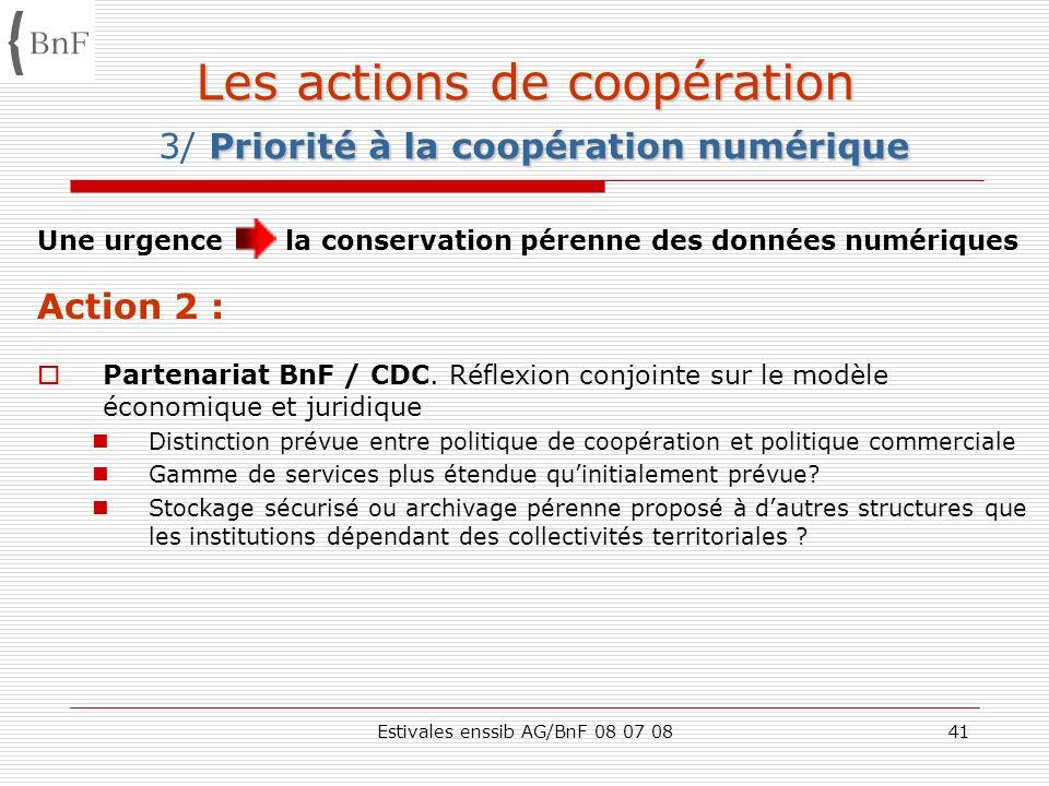 Estivales enssib AG/BnF 08 07 0841 Les actions de coopération Priorité à la coopération numérique Les actions de coopération 3/ Priorité à la coopérat