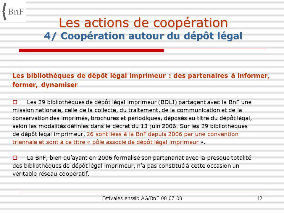 Estivales enssib AG/BnF 08 07 0842 Les actions de coopération 4/ Coopération autour du dépôt légal Les bibliothèques de dépôt légal imprimeur : des pa