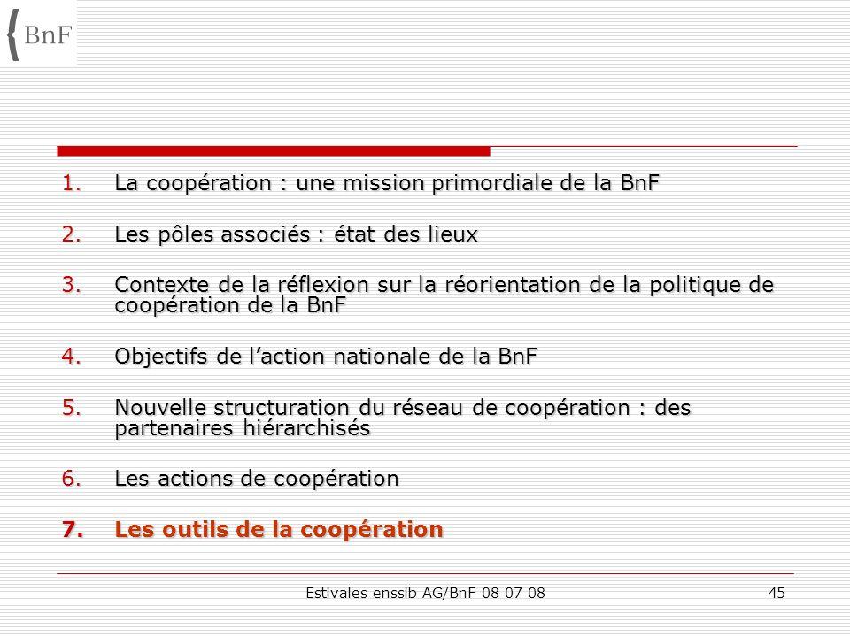 Estivales enssib AG/BnF 08 07 0845 1.La coopération : une mission primordiale de la BnF 2.Les pôles associés : état des lieux 3.Contexte de la réflexi